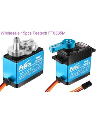 Wholesale 15pcs Feetech FT6335M 7.4V 35kg/cm Digital 360 Servo