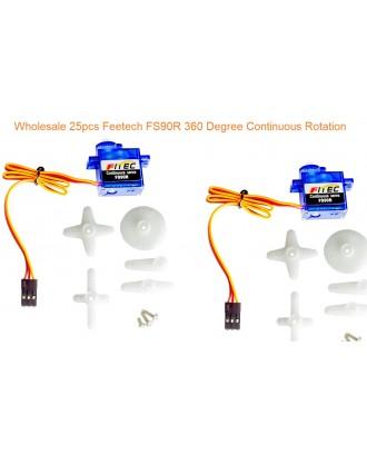 Wholesale 25pcs Feetech FS90R Micro Analog Servo 360 Degree Continuous Rotation